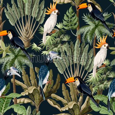 Картина Безшовная картина с экзотическими деревьями и дикой птицей, попугаями и туканами.