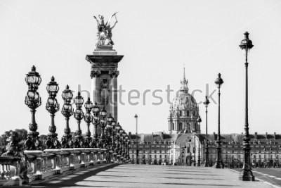 Картина Мост через мост Александра III через реку Сену и отель Invalides на заднем плане в солнечное летнее утро. Мост украшен богато украшенными светильниками и скульптурами в стиле модерн. Париж, Франция