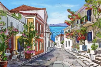 Картина Солнечное побережье в Греции. нарисованные руки.
