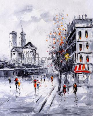 Картина Картина маслом - вид улицы Парижа