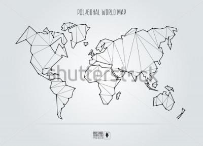 Картина Polygonal abstract world map. Vector illustration.