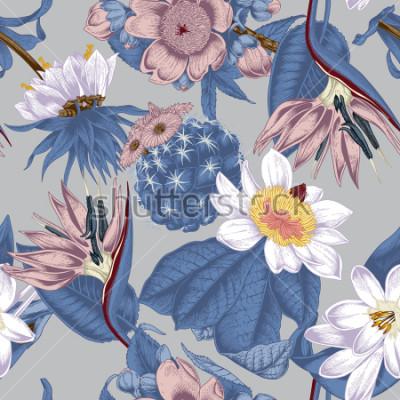 Картина Flowers. Seamless vector background. Vintage illustration. Exotica. Tropics.