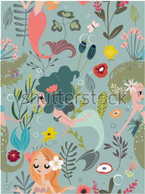 Картина Seamless pattern with cartoon mermaids and flowers