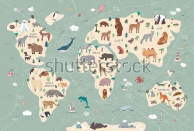 Картина Animals on world map illustrations  hand drawn vector set