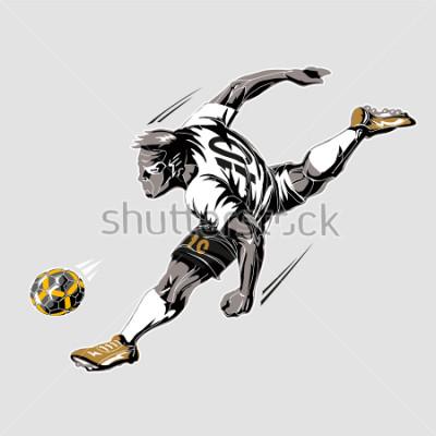 Картина Soccer player power kick