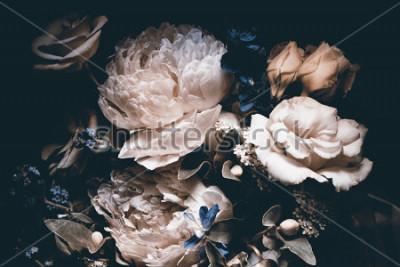 Картина bouquet of pink peonies, dark background,