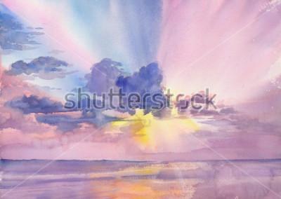 Картина Watercolor purple clouds in the seaside sky