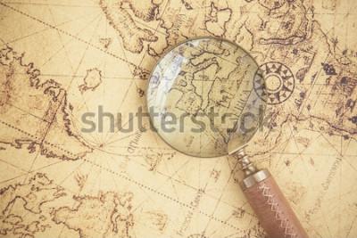 Картина Лупа, карты, финансы, бизнес, туризм, разведка