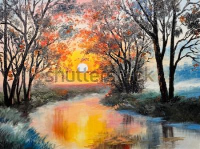 Картина живопись маслом на холсте - река