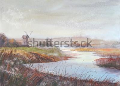 Картина Акварельная живопись пейзаж. Река и старая мельница. Акварель рисованной иллюстрации.