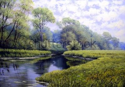 Картина Картина маслом пейзаж, красочный летний лес, красивая река