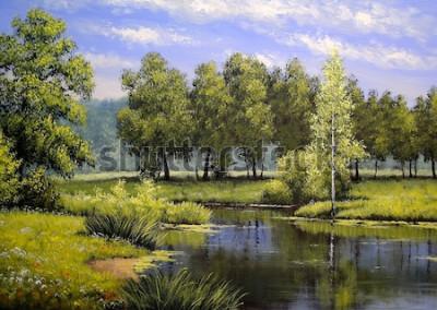 Картина Картины маслом пейзаж, река и деревья, пруд, арт