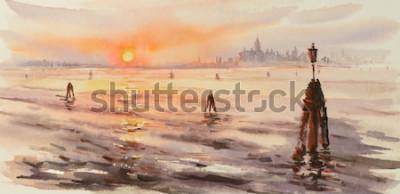 Картина Панорама Венеции Лагуна на закате. Картина создана акварелью.