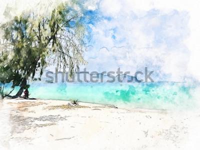 Картина Абстрактная красочная красивая горная цепь и морская вода в Krabi, Таиланде на предпосылке картины иллюстрации акварели.