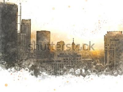 Картина Абстрактное здание в городе на фоне акварельной живописи. Город на цифровой иллюстрации кисти к искусству.