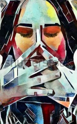 Картина Триптих портрет девушки в стиле кубизма. Картина выполнена маслом на холсте с элементами пастельной живописи.