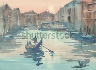Картина Эскиз Венеции в утреннем тумане акварельный пейзаж с гондолой