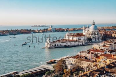 Картина Панорамный вид с воздуха Венеции от колокольни Сан-Марко. Большой канал, базилика Санта Мария делла Салюте. Италия