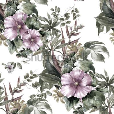 Картина Акварельная живопись из листьев и цветов, бесшовный узор на белом фоне