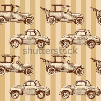 Картина Бесшовные мультфильм карта автомобилей и трафика
