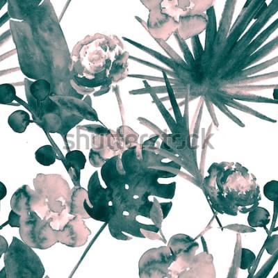 Картина Богемный бирюзовый синий ретро экзотические цветочные акварель бесшовные модели. Мягкая женская ткань фон с бананом, веером листья, розы. Цветочная акварель бесшовные модели Тропические обои принты.