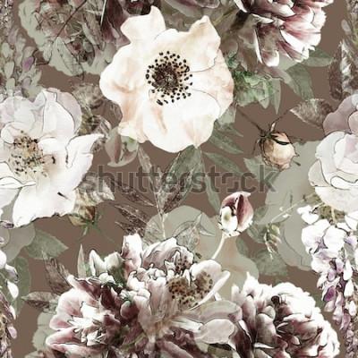 Картина Искусство Урожай карандаш цветочные красочные бесшовные модели с белыми розами и пионами на зеленом фоне. Двойная экспозиция и эффект боке