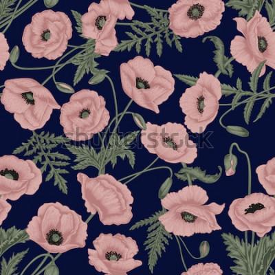 Картина Маки. Вектор бесшовный фон в винтажном стиле. Растительный узор. Ботанический рисунок.