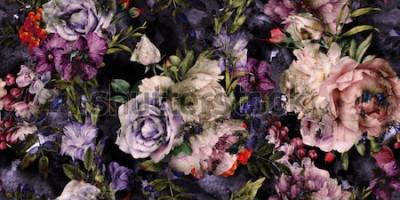 Картина Бесшовный цветочный узор с цветами, акварель
