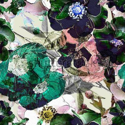 Картина Искусство Урожай карандаш цветочные красочные бесшовные модели с черными розами и зелеными маками на светлом фоне. Двойная экспозиция и эффект боке