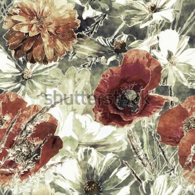 Картина искусство винтаж акварель красочные цветочные бесшовные узор с красными и белыми маками, пионами, астрами, листьями и травами на темно-зеленом фоне