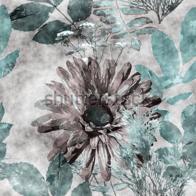 Картина Искусство Урожай Акварель Красочные Цветочные бесшовные модели с большими герберами, листьями и травами на фоне
