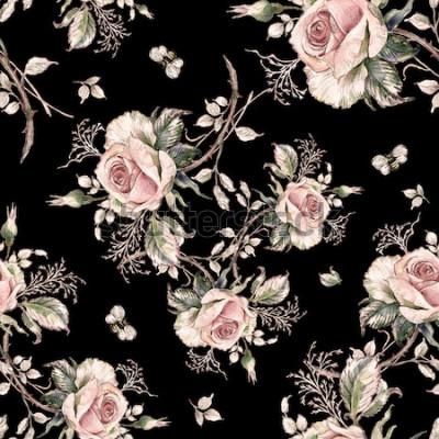 Картина Бесшовные розы и шмель пчелы-7