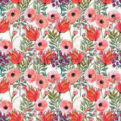 Картина Бесшовный фон с яркими цветами