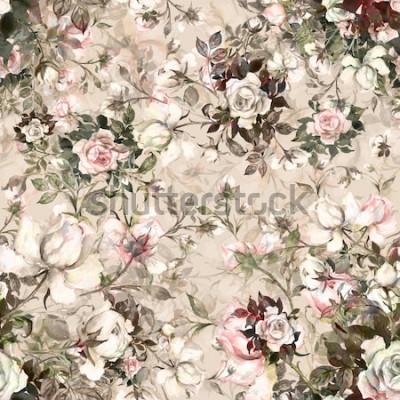 Картина Акварель бесшовные модели букет из роз в бутоне Y. Красивая картина для украшения и дизайна. Модный принт. Изысканный рисунок акварельными зарисовками цветка. Тонированное.