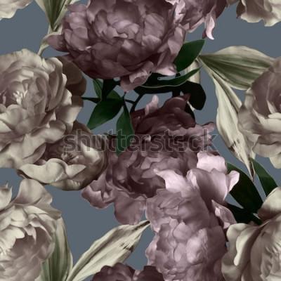 Картина Искусство старинные монохромный рисунок и акварель цветочные бесшовные модели с белыми и фиолетовыми пионами на сером фоне