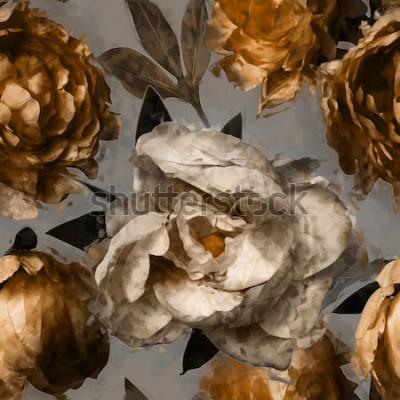 Картина Искусство старинные цветочные бесшовные модели с белыми и золотыми пионами на сером фоне