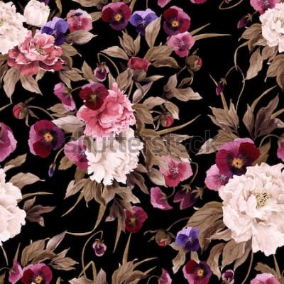 Картина Бесшовный цветочный узор с пионами и анютиными глазками, акварель