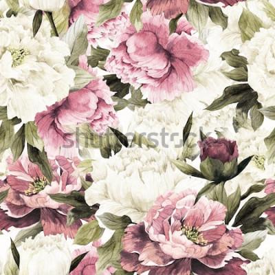 Картина Бесшовный цветочный узор с розами на белом фоне, акварель.