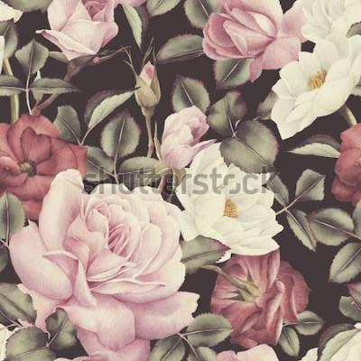 Картина Бесшовный цветочный узор с розами, акварель