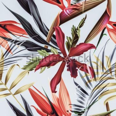 Картина Бесшовные тропических цветов, растений и листьев узор фона