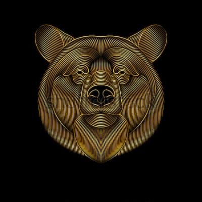 Картина Гравюра стилизованный золотой медведь на черном фоне. Линейный рисунок.