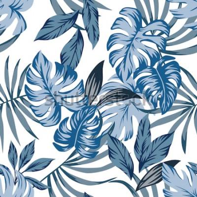 Картина Тропическая экзотическая пальма оставляет бесшовные векторные шаблон в модном синем винтажном стиле. Печать природы иллюстрации моды живопись цветочные обои джунглей на белом фоне