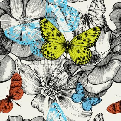 Картина Бесшовный фон с цветущими розами и летающими бабочками, рука рисунок. Векторная иллюстрация