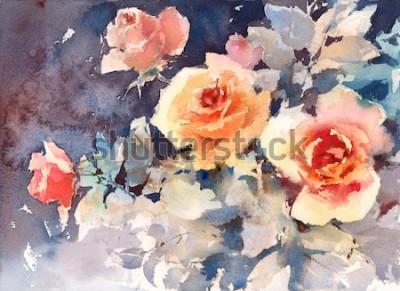Картина Акварель Розы Цветы Цветочный фон Текстура Ручная роспись