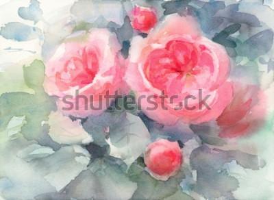 Картина Акварель Розы Цветы Цветочный фон Текстура Ручная роспись Иллюстрация