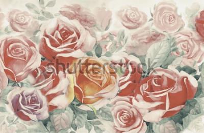 Картина Весна покрашенная иллюстрацией цветет красочный букет роз в саде и эмоции в реалистическом годе сбора винограда с абстрактной голубой предпосылкой, картиной ландшафта акварели первоначально, для поздр