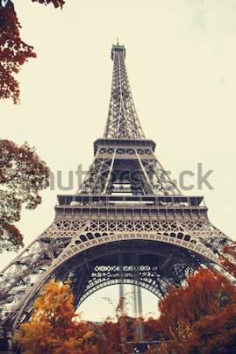 Картина Париж. Шикарный широкоугольный вид на Эйфелеву башню в осенний сезон