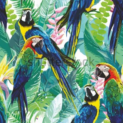 Картина красочные попугаи и экзотические цветы