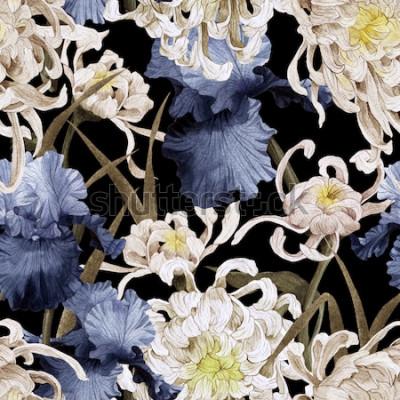 Картина Бесшовный цветочный узор с хризантемой и ирисом, акварель