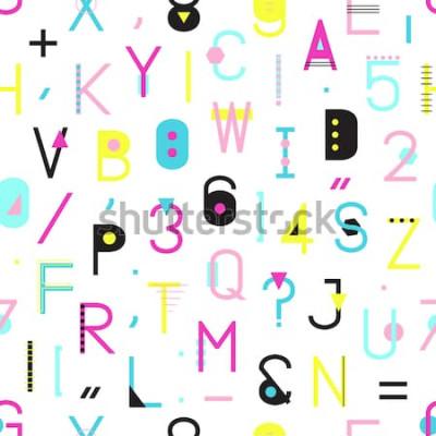 Картина Картина красочного алфавита безшовная с номерами и пунктуацией геометрических форм изолированных на белой предпосылке. Креативная типография обтекания текстурой в стиле Мемфис. Иллюстрация абстрактной